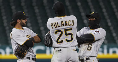 Pirates outfield celebration