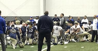 Basketball Coach Jeff Capel at Pitt Football Spring Practice