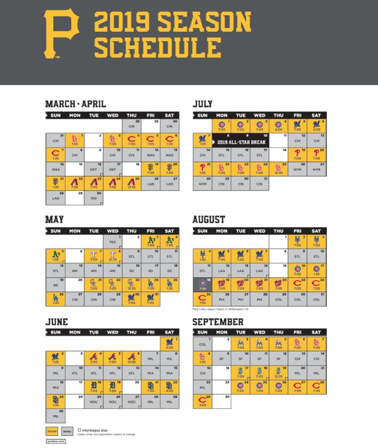 Pirates 2019 Schedule Pirates 2019 Schedule | 93.7 The Fan