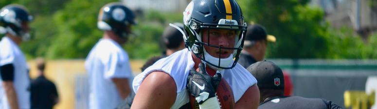 Steelers TE Kevin Rader at practice in 2019