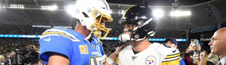 Philip Rivers of the Los Angeles Chargers congratulates Devlin Hodges of the Pittsburgh Steelers after a 24-17 Steelers win