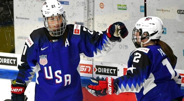 Goal scorer Hilary Knight, left, and assist Kelly Pannek of the U.S. celebrate game opening goal during the IIHF Women's Ice Hockey World Championships semifinal match between the United States and Russia in Espoo, Finland on Saturday, April 13, 2019.