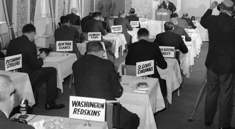 This Nov. 26, 1964, file photo shows a general view of the National Football League draft meeting in New York.