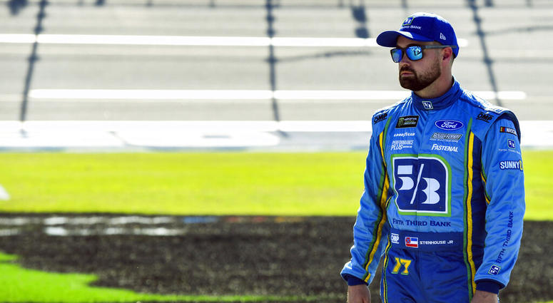 NASCAR Cup Series driver Ricky Stenhouse Jr. (17) awaits the final qualifying round for a NASCAR Cup Series auto race at Talladega Superspeedway, Saturday, April 27, 2019, in Talladega, Ala.