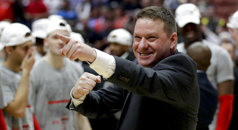 Texas Tech head coach Chris Beard celebrates after the team's win against Gonzaga during the West Regional final in the NCAA men's college basketball tournament Saturday, March 30, 2019, in Anaheim, Calif. Texas Tech won 75-69.