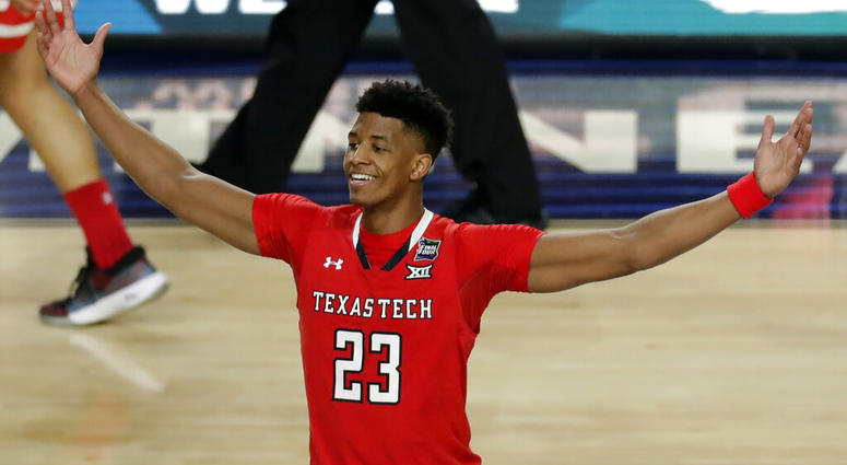 Texas Tech's Jarrett Culver (23) celebrates after defeating Michigan State 61-51 in the second half in the semifinals of the Final Four NCAA college basketball tournament, Saturday, April 6, 2019, in Minneapolis.