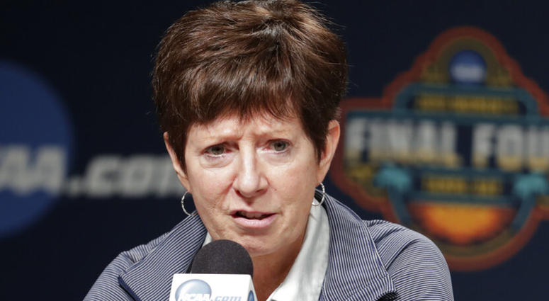 Notre Dame head coach Muffet McGraw answers questions during a news conference at the women's Final Four NCAA college basketball tournament Saturday, April 6, 2019, in Tampa, Fla. Notre Dame will play Baylor on Sunday for the national championship.