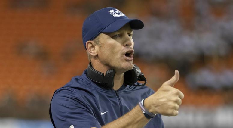 Utah State coach Matt Wells