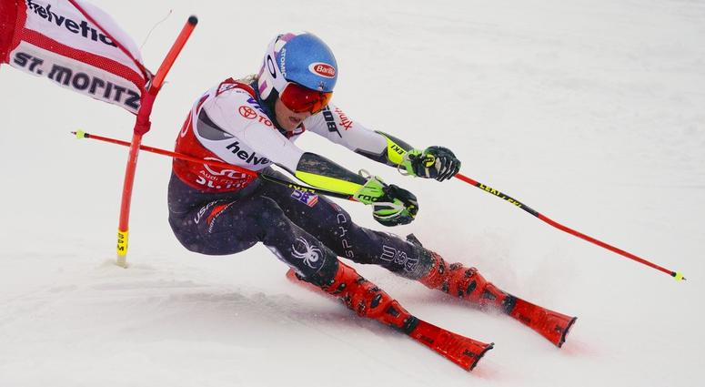 United States' Mikaela Shiffrin competes during a slalom qualifying run for a women's World Cup parallel event, in St. Moritz, Switzerland