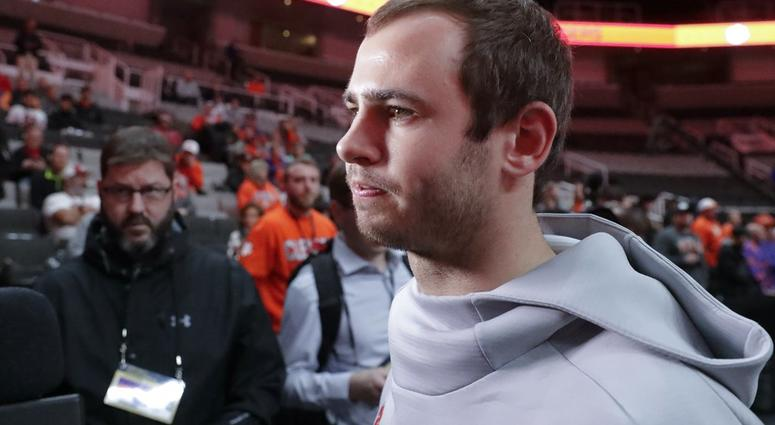 Clemson's Hunter Renfrow listens to a question during media day for the NCAA college football playoff championship game Saturday, Jan. 5, 2019, in Santa Clara, Calif