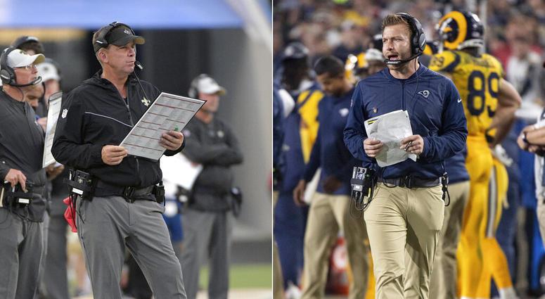 New Orleans Saints head coach Sean Payton;  Los Angeles Rams head coach Sean McVay