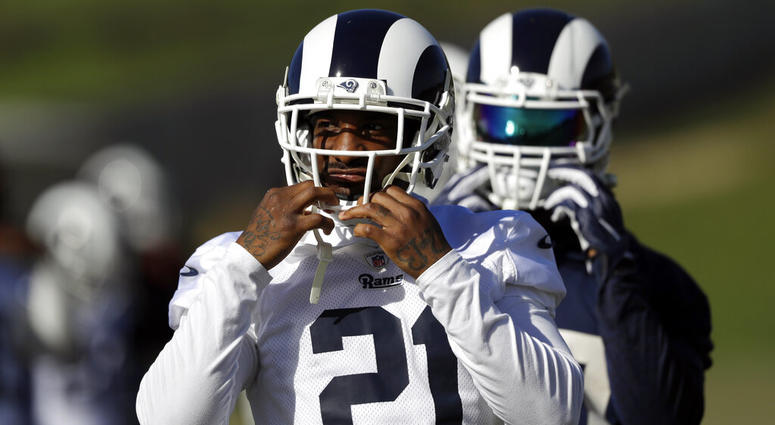 Los Angeles Rams' Aqib Talib (21) warms up during practice at the team's NFL football training facility Friday, Jan. 18, 2019