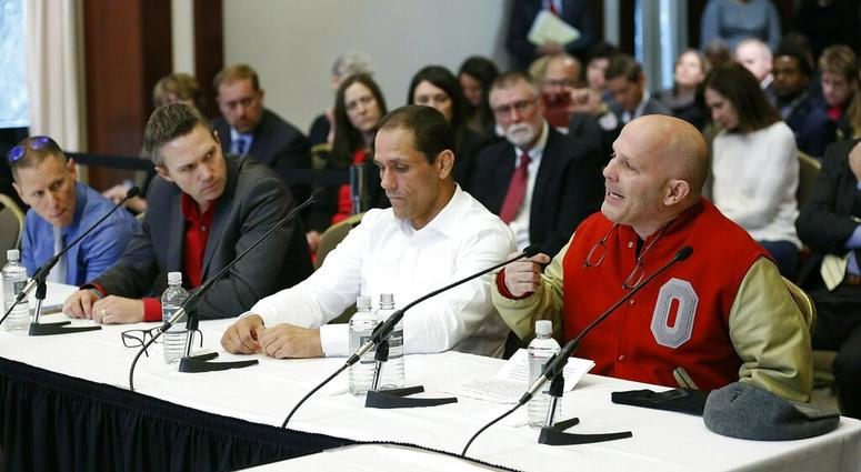 victims of former Ohio State team doctor Dr. Richard Strauss, from right, Michael DiSabato, Mike Schyck, Brian Garrett and Stephen Snyder Hill speak during an Ohio State University Board of Trustees meeting