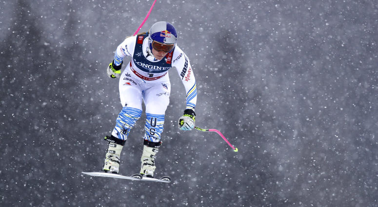 United States' Lindsey Vonn speeds down the course during the downhill portion of the women's combined, at the alpine ski World Championships in Are, Sweden, Friday, Feb. 8, 2019
