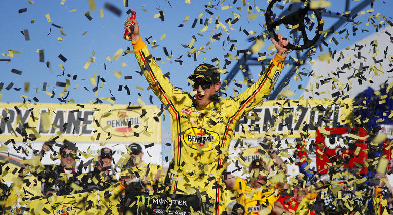Joey Logano celebrates after winning a NASCAR Cup Series auto race at Las Vegas Motor Speedway, Sunday, March 3, 2019, in Las Vegas.