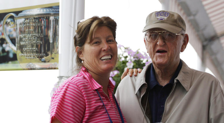 sports writer Dan Jenkins, right, stands next to his daughter, Sally Jenkins