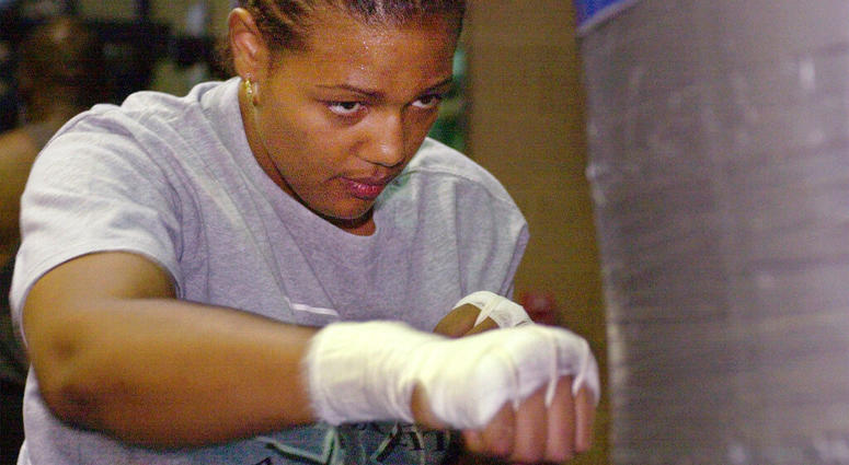 Freeda Foreman works out in a gym in Las Vegas