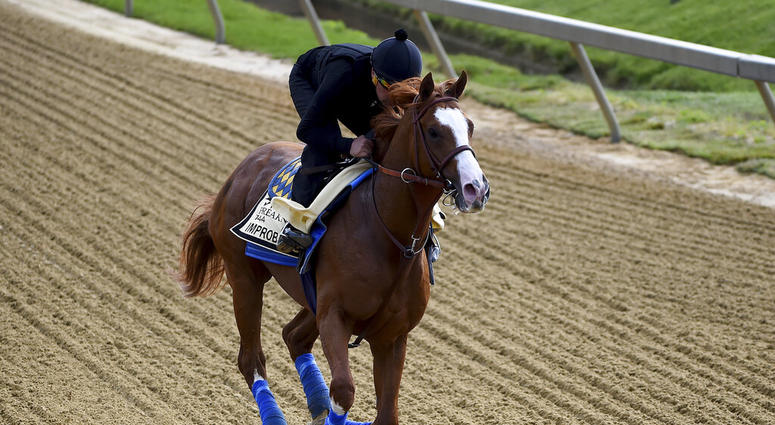 Improbable exercises in preparation for the Preakness Stakes horse race, Thursday, May 16, 2019, at Pimlico Race Course in Baltimore. The race is scheduled to take place Saturday, May 18.