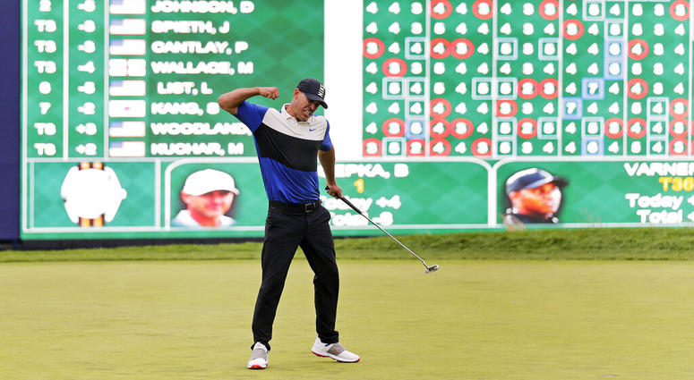 Brooks Koepka reacts after winning the PGA Championship golf tournament, Sunday, May 19, 2019, at Bethpage Black in Farmingdale, N.Y. (