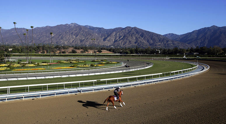 an exercise rider takes a horse for a workout at Santa Anita Park