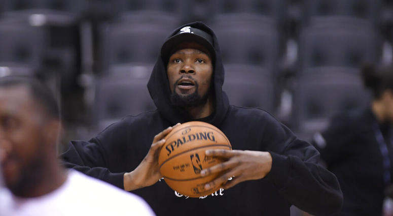 Golden State Warriors Kevin Durant watches during basketball practice at the NBA Finals in Toronto, Saturday, June 1, 2019.