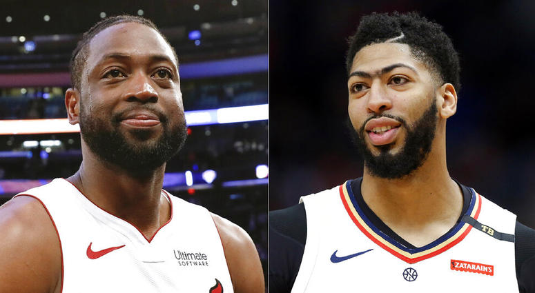 Miami Heat guard Dwyane Wade and New Orleans Pelicans forward Anthony Davis