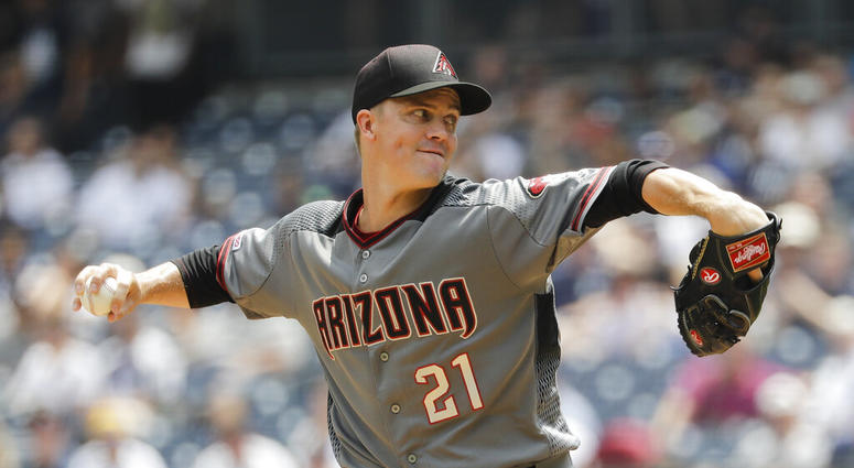 Arizona Diamondbacks' Zack Greinke delivers a pitch during the first inning of a baseball game against the New York Yankees Wednesday, July 31, 2019, in New York.