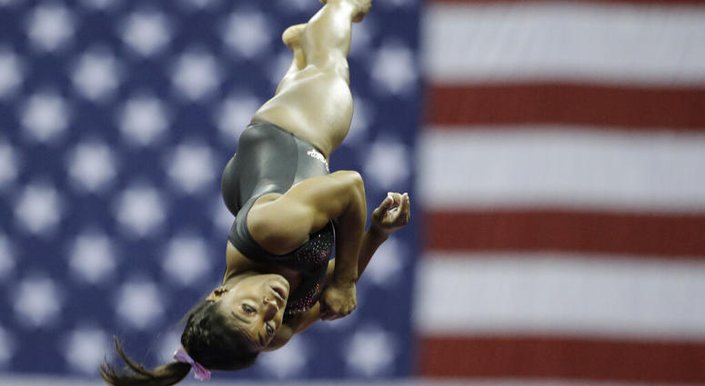 Simone Biles practices on vault for the senior women's competition at the 2019 U.S. Gymnastics Championships Sunday, Aug. 11, 2019, in Kansas City, Mo.