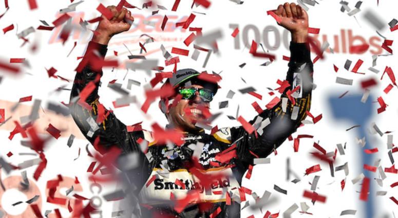 Stewart-Haas Racing's Aric Almirola Celebrates 1000Bulbs.com Win At Talladega Superspeedway