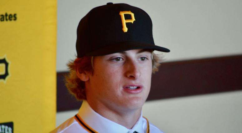 Pirates first round draft pick Quinn Priester at introductory press conference in June 2019