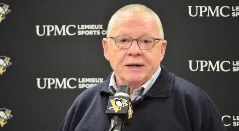 Penguins GM Jim Rutherford at a press conference in 2019