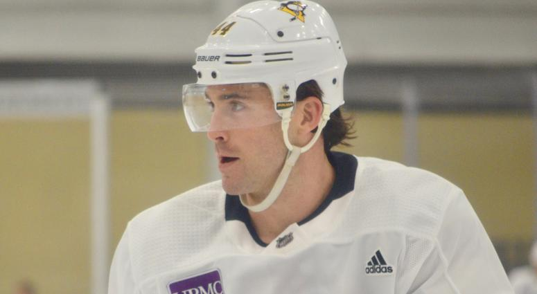 Penguins defense Erik Gudbranson at his first practice with Pittsburgh on February, 27, 2019