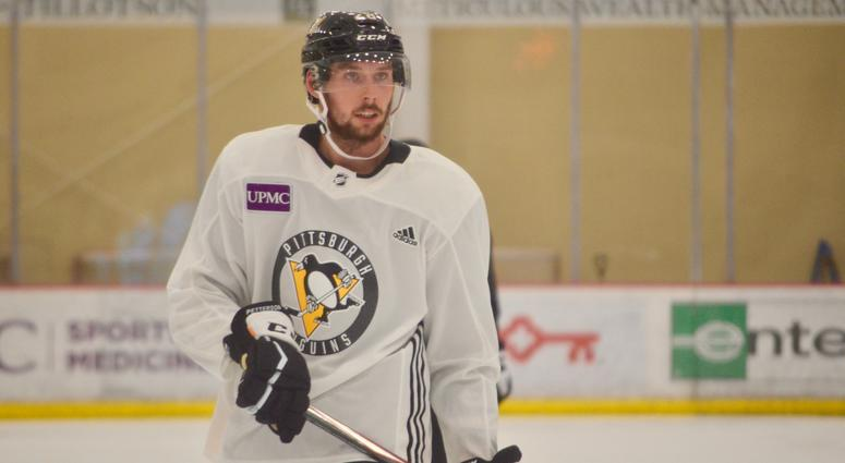 Penguins defenseman Marcus Pettersson at training camp in 2019