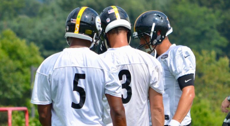 Steelers backup quarterbacks Josh Dobbs, Landry Jones and Mason Rudolph in 2018 training camp.