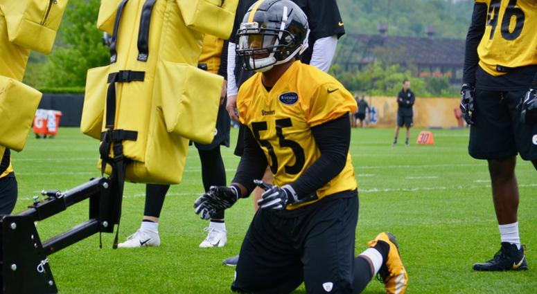 bf6814f32 Steelers LB Devin Bush at rookie minicamp in May