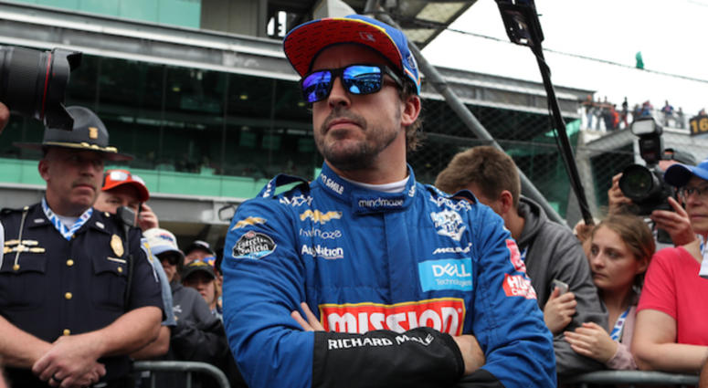 Fernando Alonso Looks From Pit Lane During Indianapolis 500 Qualifying