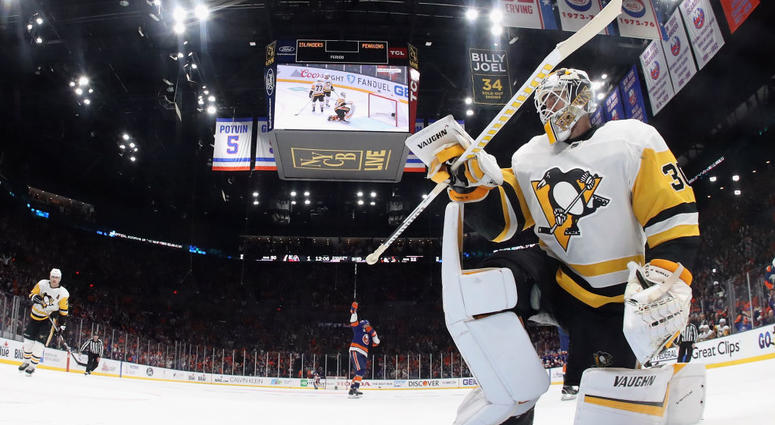 Matt Murray #30 of the Pittsburgh Penguins pauses following the game winning goal by Jordan Eberle #7 of the New York Islanders in Game Two of the Eastern Conference First Round during the 2019 NHL Stanley Cup Playoffs