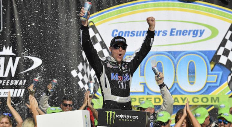 Stewart Haas Racing's Kevin Harvick Celebrates In Victory Lane At Michigan International Speedway