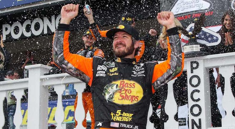 Martin Truex Jr. Celebrates NASCAR Win At Pocono