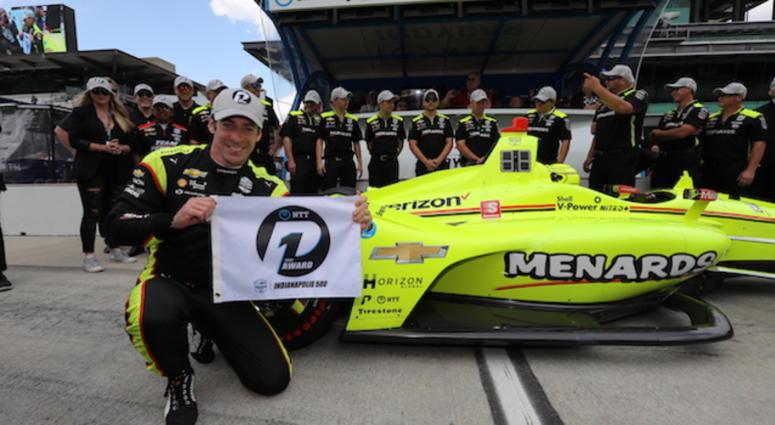 Team Penske's Simon Pagenaud Celebrates Winning The 103rd Indianapolis 500 Pole Position