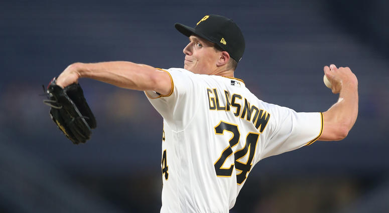 Pittsburgh Pirates relief pitcher Tyler Glasnow (24) pitches against the Chicago Cubs during the sixth inning at PNC Park. Chicago won 8-6.