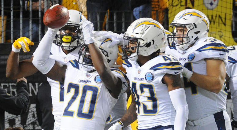 Chargers celebrating