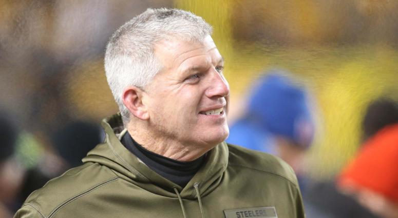 Pittsburgh Steelers offensive line coach Mike Munchak reacts on the sidelines against the Carolina Panthers during the fourth quarter at Heinz Field. The Steelers won 52-21.