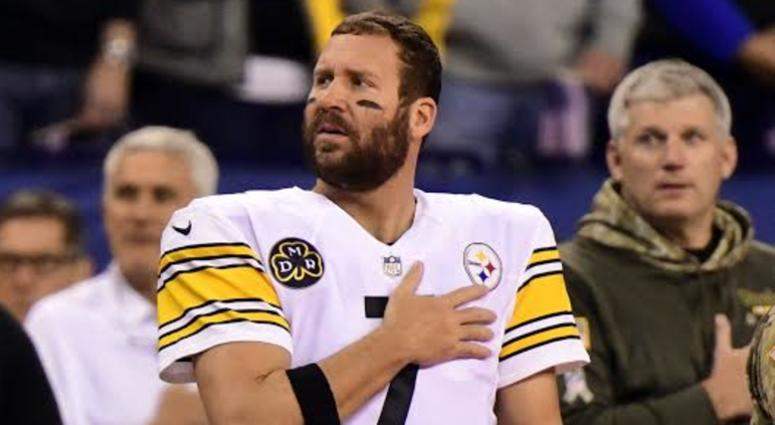 d25d28f8d Steelers QB Ben Roethlisberger stands during the National Anthem during a  game in 2017