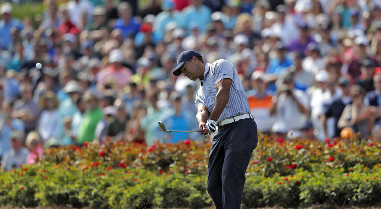 Tiger Woods hits from the drop zone after hitting his tee shot into the water on the 17th hole during the second round of The Players Championship golf tournament Friday, March 15, 2019, in Ponte Vedra Beach, Fla