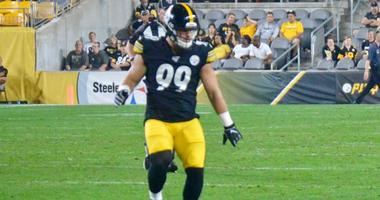 Steelers linebacker Christian Kuntz during preseason game against Kansas City in August 2019
