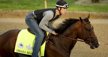 Exercise rider Taylor Cambra rides Kentucky Derby entrant Omaha Beach during a workout at Churchill Downs Wednesday, May 1, 2019, in Louisville, Ky. The 145th running of the Kentucky Derby is scheduled for Saturday, May 4.