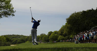Tiger Woods hits his drive from the third tee during round-robin play at the Dell Match Play Championship golf tournament, Wednesday, March 27, 2019, in Austin, Texas.
