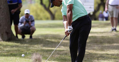 Tiger Woods hits from the rough on the sixth hole during round-robin play at the Dell Match Play Championship golf tournament, Thursday, March 28, 2019, in Austin, Texas. (