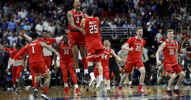 Texas Tech celebrates after a win against Gonzaga in the West Regional final in the NCAA men's college basketball tournament Saturday, March 30, 2019, in Anaheim, Calif. Texas Tech won 75-69.